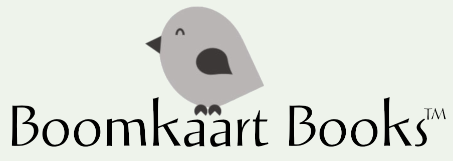 Boomkaart Books logo with small grey bird perched on the lettering