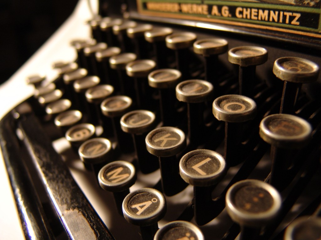 old 1930s typewriter with round keys